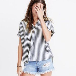 Madewell Blue & White Stripped Cotton Blouse